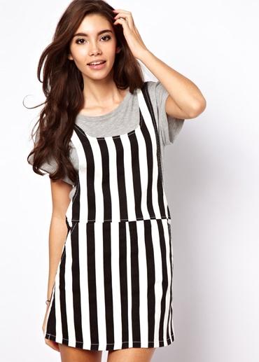 ASOS Denim Pinafore Dress in Mono Stripe 46.39