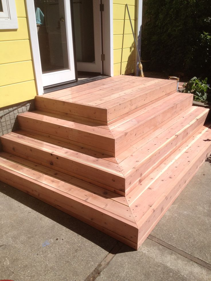 Wood Patio Steps Pictures: Redwood Deck Stairs Before Stain. Elcerito Ca.
