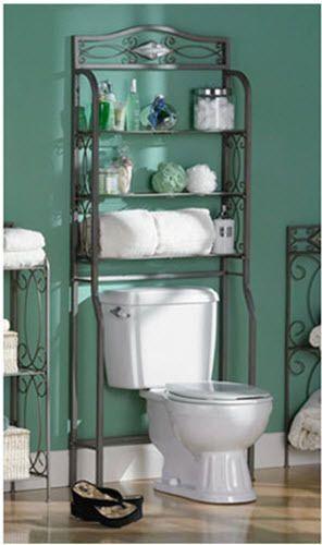 Bathroom Space Saver Over Toilet Storage Cabinet Organizer Shelves Metal Rack #BathroomSpaceSaver