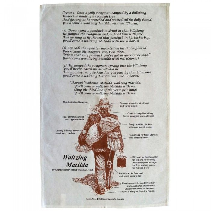 Waltzing Matilda Lyrics Tea Towel