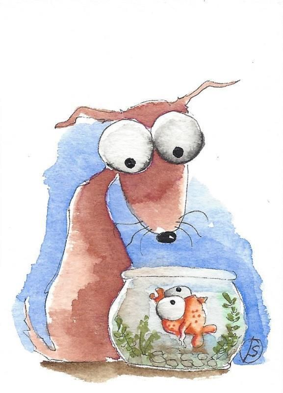 ACEO Original watercolor painting whimsical brown dog gold fish bowl #IllustrationArt