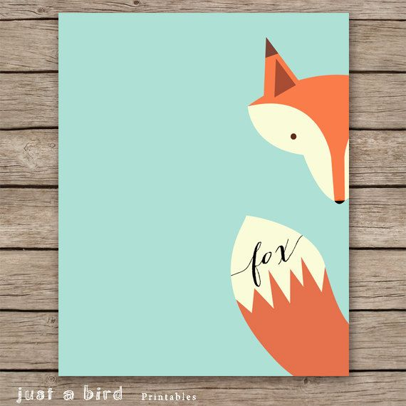 Fox print, nursery decoration, fox art print, fox wall art, mint green nursery, animal nursery print - INSTANT DOWNLOAD