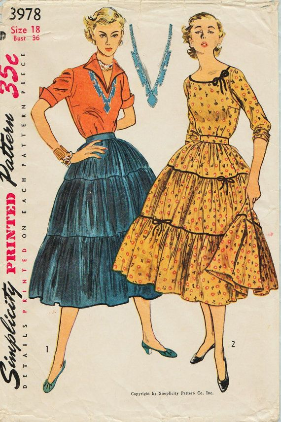 Simplicity 3978 / Vintage 50s Sewing Pattern With Transfer/