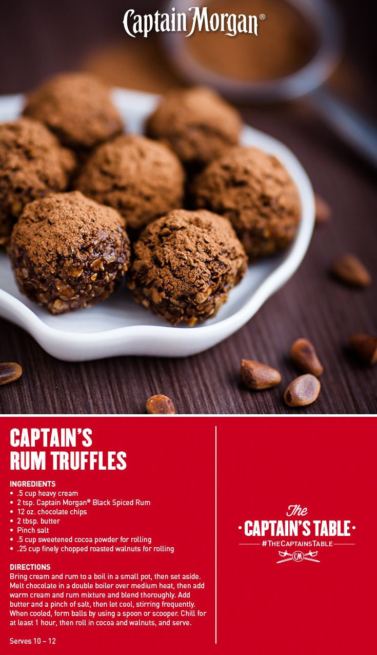 Captain's Rum Truffles: A Valentine's chocolate surprise sure to win anyone's heart! #Captain #Morgan #recipe #CaptainsTable #rum
