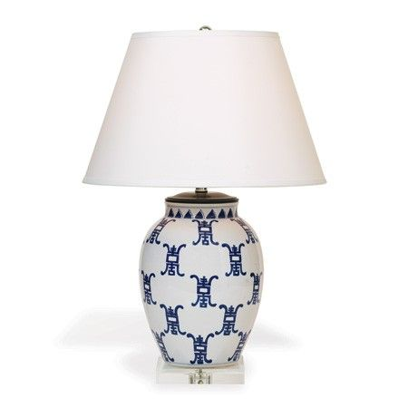 The well appointed house blue and white longevity porcelain table lamp with shade
