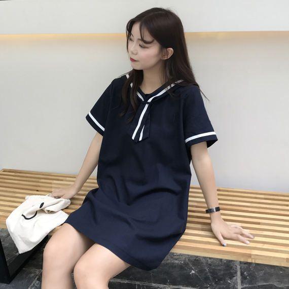 여름 숙녀 새로운 도착 작은 신선한 해군 칼라 긴 단락 느슨한 짧은 소매 드레스 학생 캐주얼 치마가 얇은되었습니다