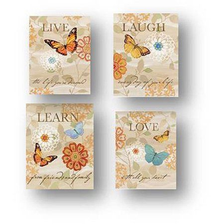 Love, Learn, Laugh Live Foil Butterfly Canvas Wall Art, 6.5 inch x 8.5 inch, 4-Pack, Multicolor