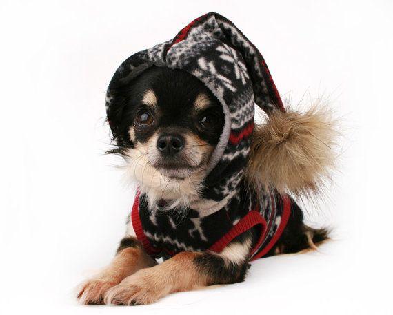 Dog Clothes Winter fleece Pom Pom dog Hoodie by PetitDogApparel
