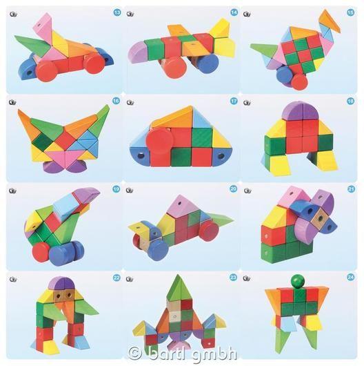 Bartl, Konstruktionsspiel Magnetic Blocks, 33 magnetische Holzbausteine und 12 doppelseitige Vorlagekarten | 111318