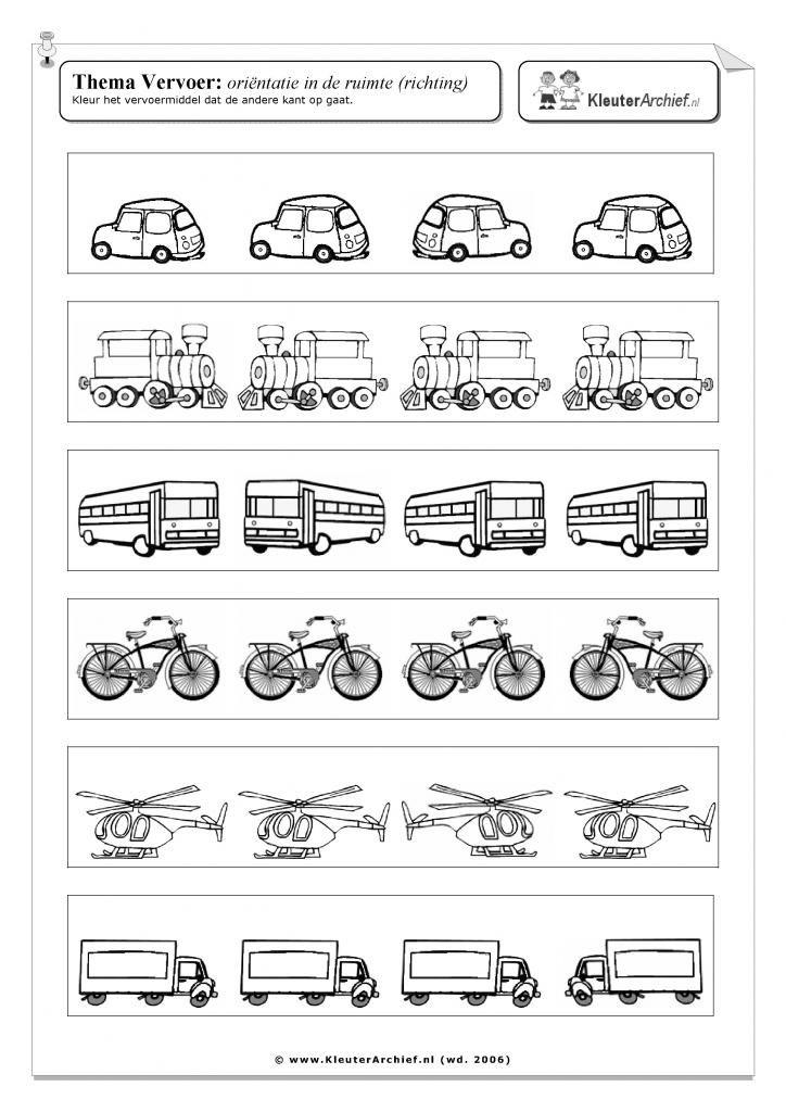 Werkblad: vervoer verkeer ruimtelijk inzicht links en rechts