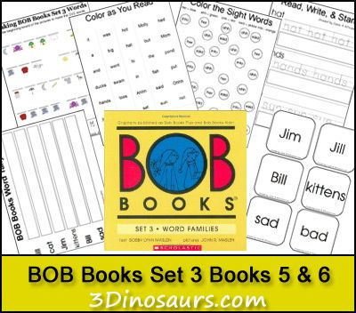 OB Books Set 3 Books 5 & 6: Vowel Word Paths, Read Write & Stamp, Making BOB Book Words, Write a Sentence with the Word, Color as You Read, Color the Sight Word, Tally Mark as you read, Rhyming Word matching and Cube Flashcards. (3 Dinosaurs)