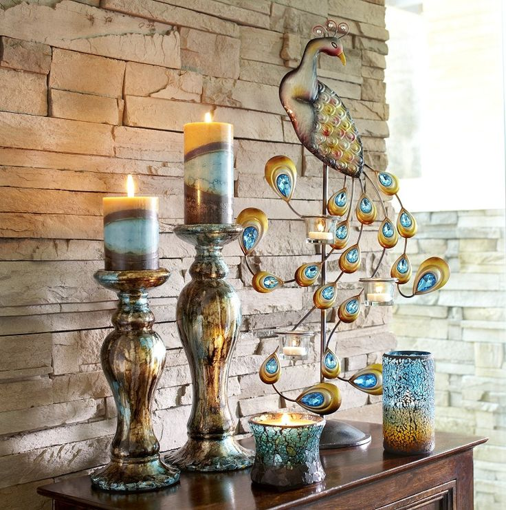 Pier 1 Jewel Peacock Centerpiece Tealight Holder