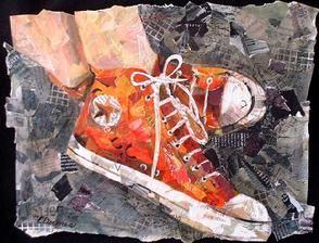 Dit is fantastisch! Allemaal stukjes gescheurd papier.Torn Paper, Magazines Collage, Newspaper Collage, Collage Artists, Art Ideas, Art Collage, Converse Shoes, High Schools, Tennis Shoes