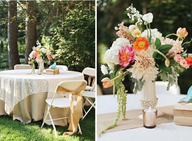 Spring Peach And Blue Centerpieces Backyard Wedding Feature By Mikki Platt03 Design Loves Detail
