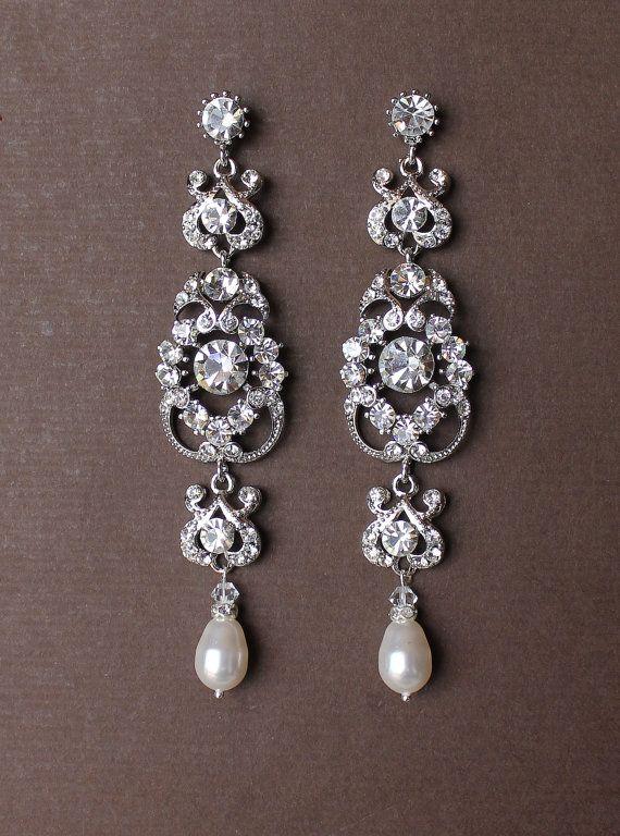 Crystal Bridal Chandelier Earrings Vintage Style by JamJewels1, $62.00