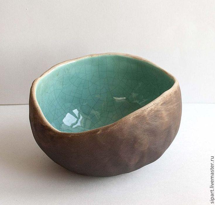 """Пиала-вазочка """"Бирюза Винтаж"""" - бирюзовый, керамика ручной работы, керамическая посуда, пиала"""