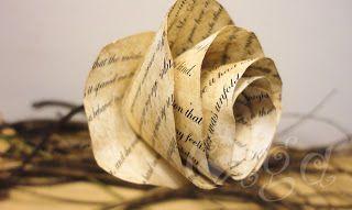 Flores de papel de libro antiguo (imitación)