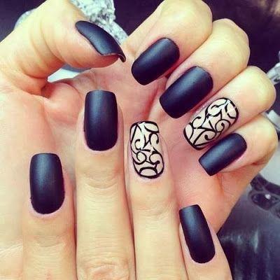 #Nailart | Unghie nero satinato -|- satin black nails