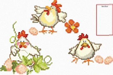 Punto croce gallinelle