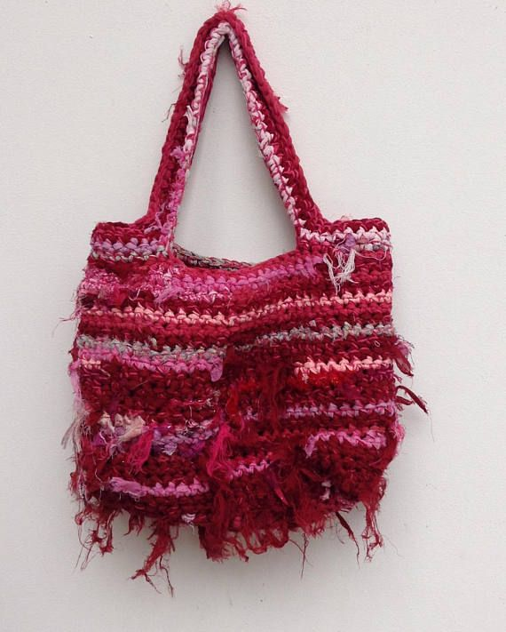 Handmade crochet sholder bag with fabric strips