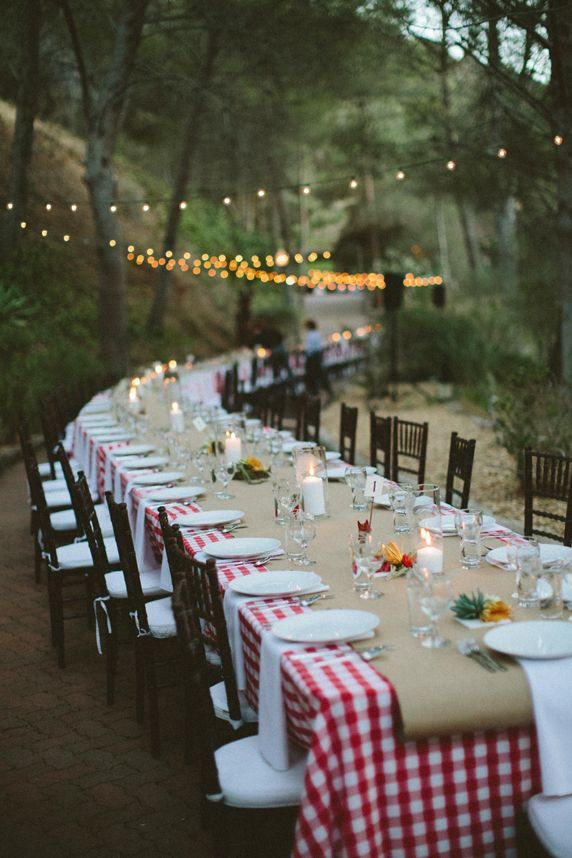Beau Love The Long Table And The Brown Paper Over The Red Checked Tablecloth!