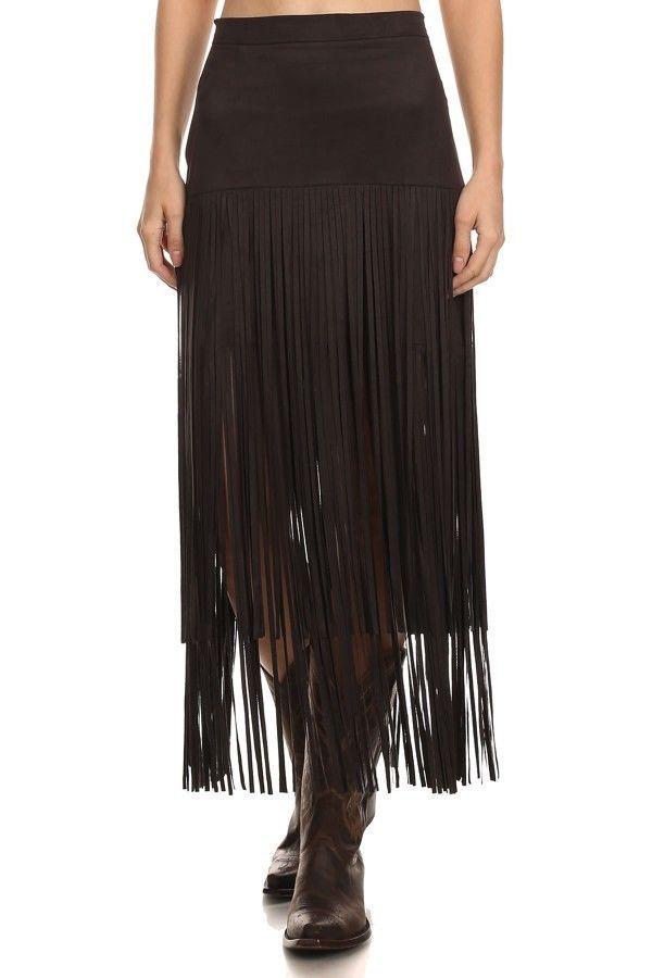 Gypsy Cowgirl Chic Trendy Boho Fringe Faux Suede A-Line Skirt S-2XL Gift 4 Her #GypsyCowgirlChic #ALine