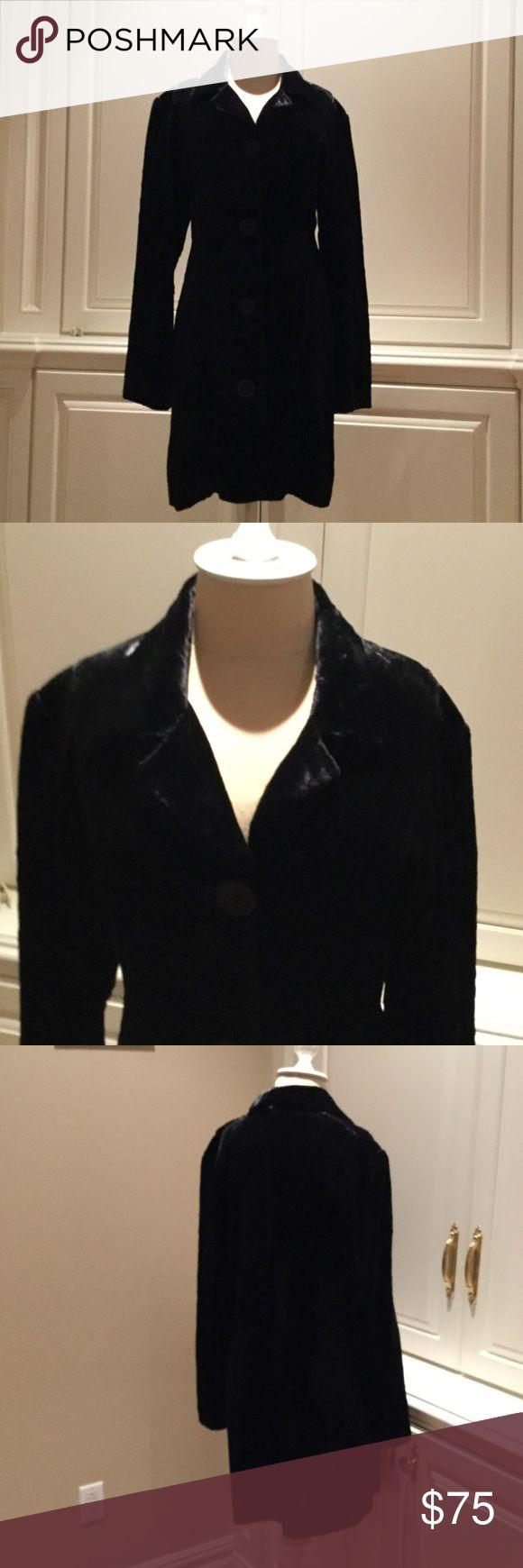 Black Velvet Jacket Black  Velvet dress coat. 4 buttons. jeffrey halper Jackets & Coats