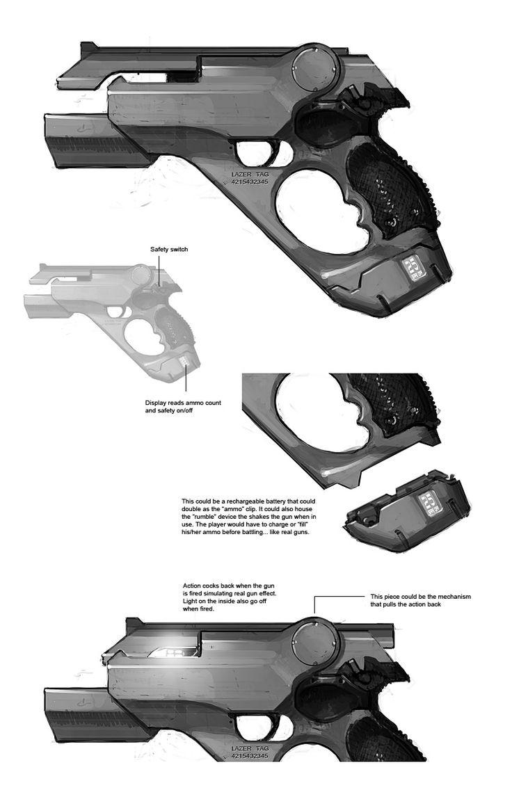 Sci-fi weapon: Kemp Remillard - concept handgun art #gun