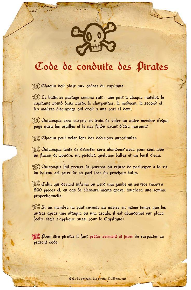 Les Pirates sont des hommes libres ! Mais, ils savent que pour vivre ensemble sur un bateau pendant les longs trajets en mer, mieux vaut établir certaines règles ! Voici le code officiel des pirates à imprimer et à coller sur le mât de votre galère ! Une décoration idéale pour une fête de pirate ou une décoration sur le thème des pirates.