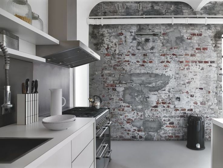 woonkamer inrichting met bakstenen muur - Google zoeken