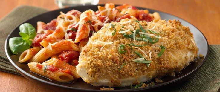 Quick Parmesan breaded chicken and a zesty marinara work together for this easy Italian dinner.