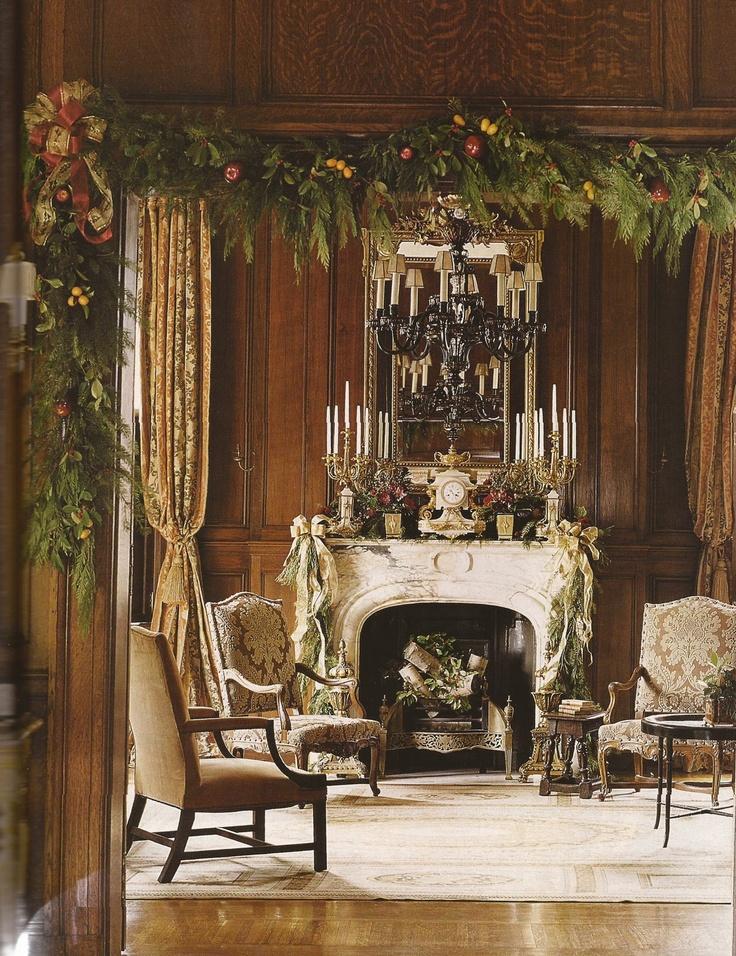 .Belclair House, Traditional Christmas, Christmas Elegant, Gorgeous Room, Beautiful Garlands, Elegant Christmas Room, Christmas Decor, Christmas Garlands, Christmas Mantles