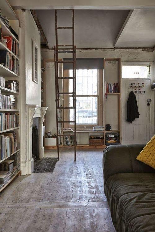 High ceilings, loft, ladder, books, hardwood floors, swoooooon!!!