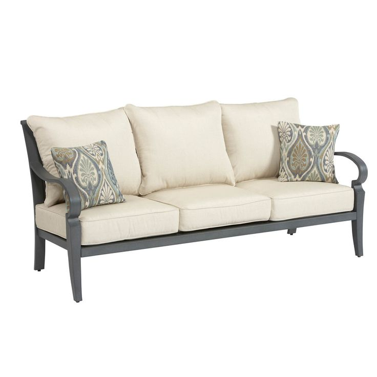 Outdoor Sectional Sofa Lowes: Shop Allen + Roth Newstead Grey Textured Aluminum Slat
