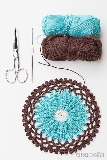 Daisy flower crochet motif, Anabelia <3 #daisyflower #crochetmotif