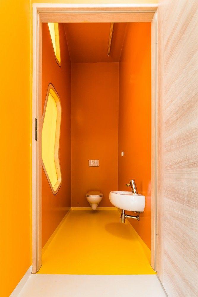 Kindergarden in Chroscice (Poland) designed by PORT | Orange toilets