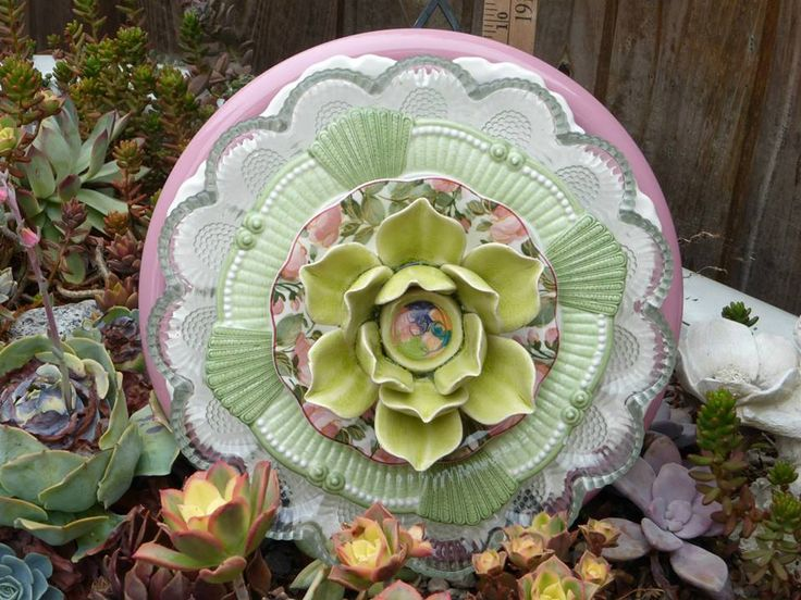Plate Flowers. #359  Drought Resistant.      Garden Yard Art glass and ceramic plate flower
