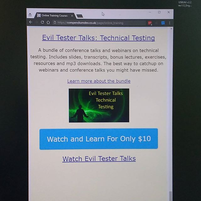 """I do not promote this as much as I should. It is my online 'course' where I bundle webinars and conference talks with transcripts mp3 downloads extra material and exercises. I was going to create 3 or 4 of these """"Evil Tester Talks Automation"""" """"Evil Tester Talks Technical Testing"""" Management"""" etc. But I have decided to roll them all into one. So currently for $10 you have access to 5 conference talks and 2 webinars. I process the audio to make it clearer and just try and max it out with…"""