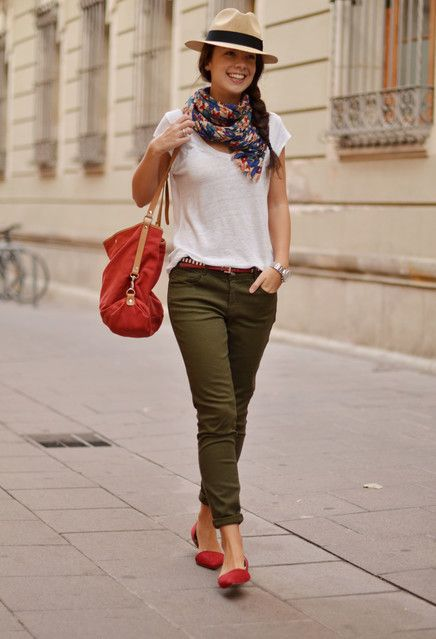 khaki, white t-shirt and colourful accessories