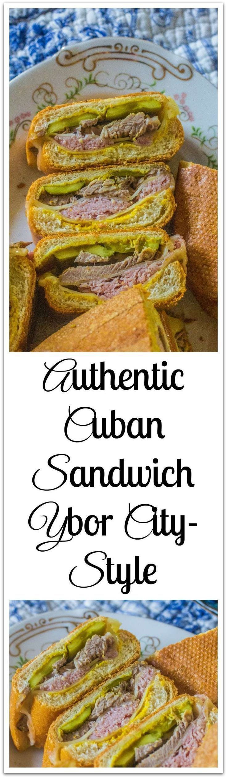 Authentic Cuban Sandwich Ybor City-style. Cuban bread, mustard, dill pickles, ham, pork and Swiss cheese create this iconic sandwich.