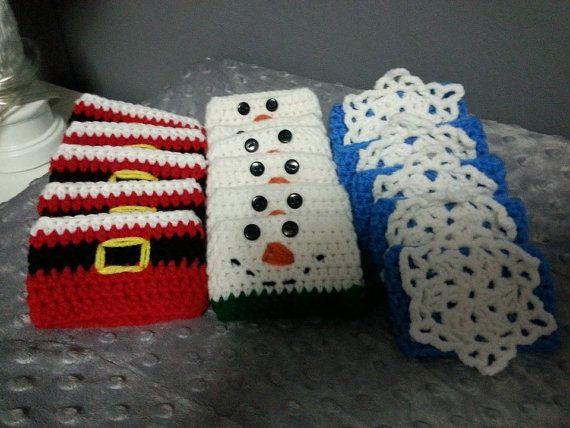 Cup Cozy, Crochet Cozy, Cup Sleeve, Thermos Sleeve, Coffee, Tea, Santa, Snowman, Snowflake, Christmas, Holiday, Winter, Cozie, Crochet Cozie