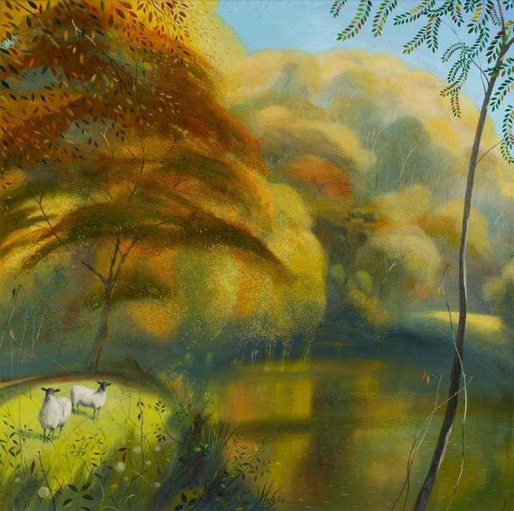 Nicholas Hely Hutchinson (b1955) — Autumn Morning near Hod Hill (800x795)