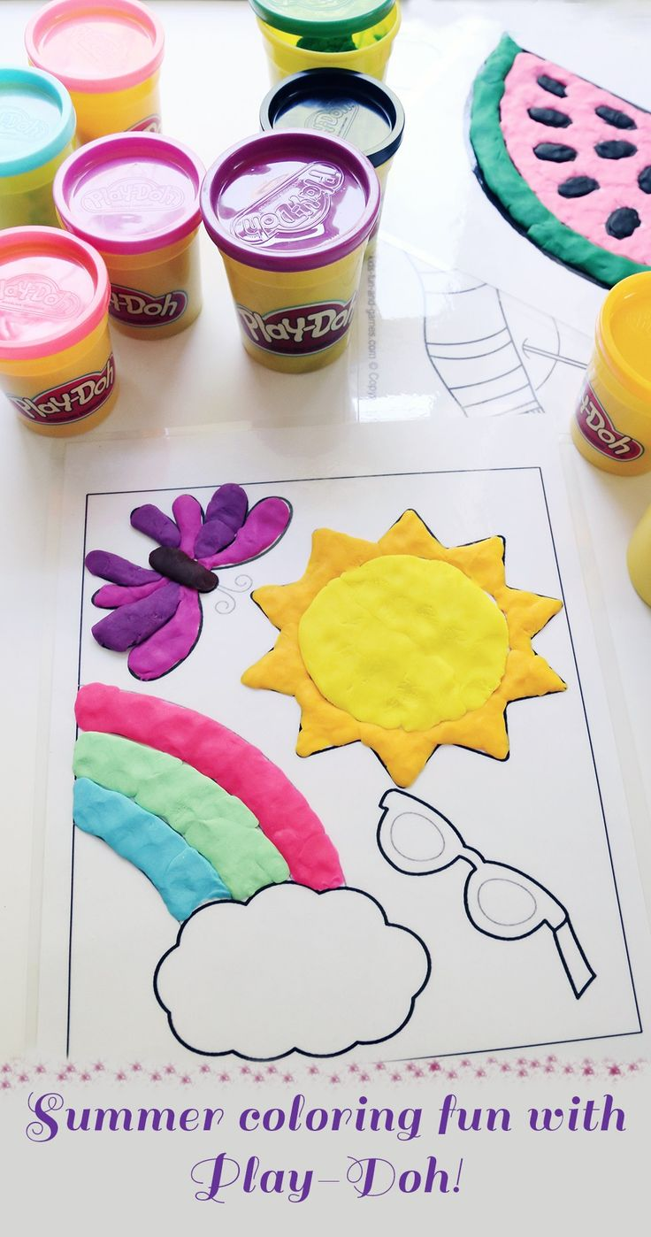 summer coloring fun with play doh use laminated coloring pages to color - Kids Coloring Fun