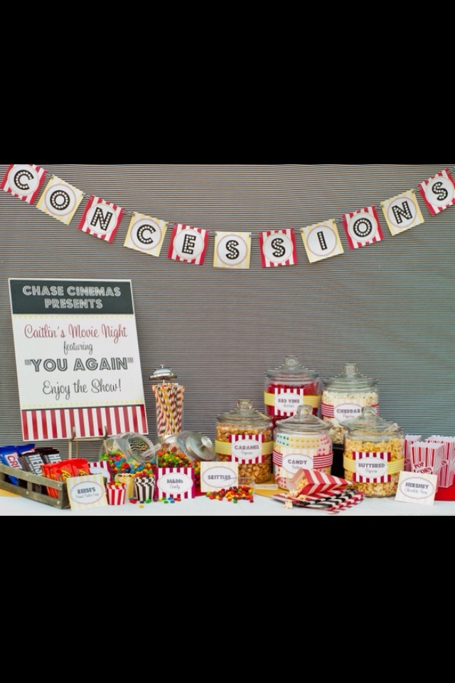 Movie party- love this snack table