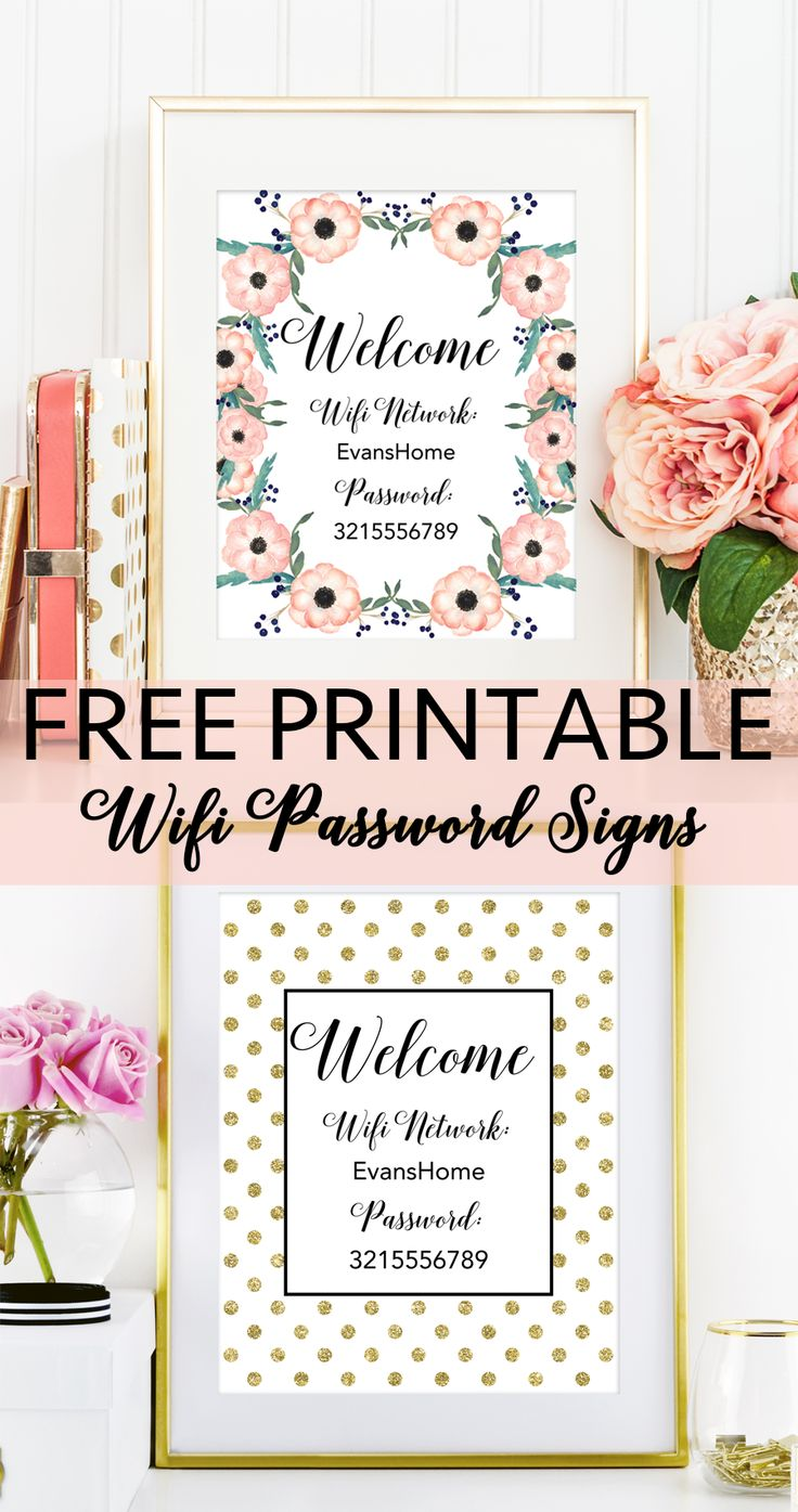 Free Printable Wifi Password Signs from @chicfetti