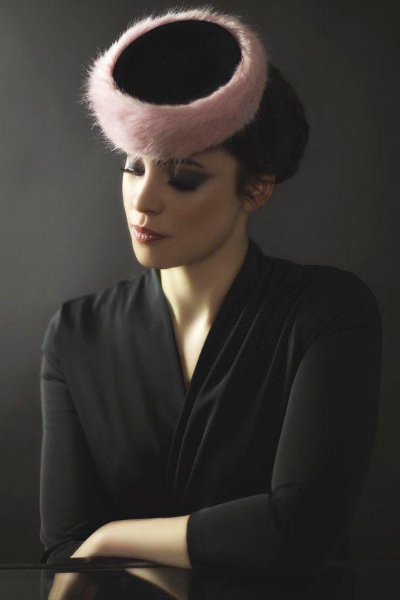 Cossack Hat, Fascinator Mini Hat with Faux Fur Trim, Elegant Fashion Pillbox -  Maple
