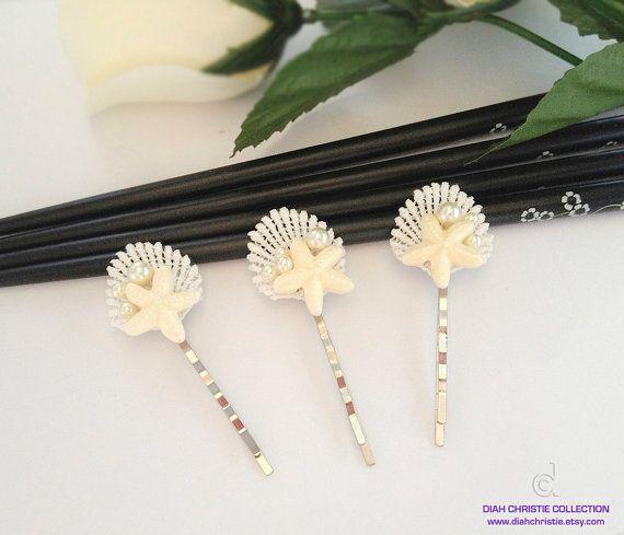 Ivory Beach Wedding Hair Accessories, Seashell Lace Bobby Pins, Starfish Bridal Headpiece, Summer Wedding, Bridesmaid Hair Accessories