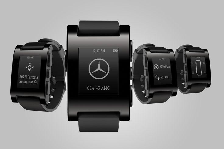 Mercedes-Smartwatch-Montre-Connectee-Peeble CES 2014 http://www.larevueautomobile.com/images/Mercedes-Smartwatch-Montre-Connectee-Peeble/CES...