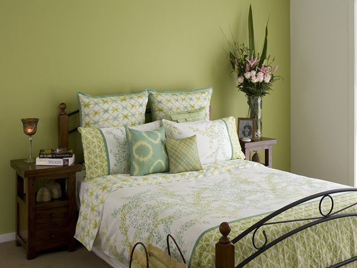 Striking And At The Same Time Restful The Green Used In The Bedroom Creates A
