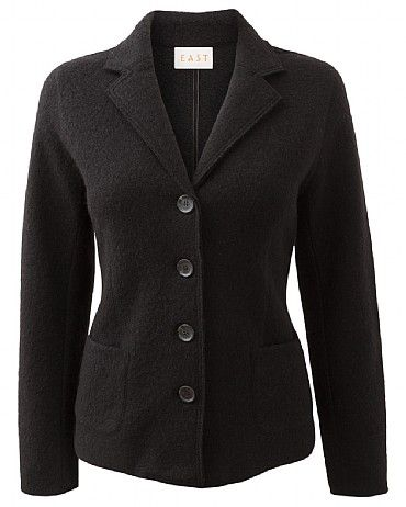 Classic Boiled Wool Blazer Add structure to your look with this wool blazer. It is perfect for wearing on cooler evenings. It features a V neck collar and 2 functioning pockets at the front. Wear with jeans and a printed bright top for a modern look.